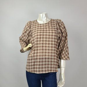 MNG Suit Brown Plaid Blouse Top Size 8